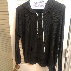 Brandy Melville Grey Striped OS hoodie